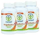 manako Hagebutten vegetarische Kapseln, 3 x 120 Stück a 500 mg, Dose a 72 g (3 x 120 Kapseln)
