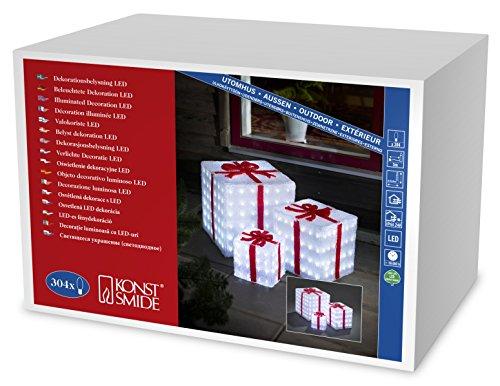 """Konstsmide 6198-203 LED Acrylfigur """"Geschenkboxen 3er Set"""" / für Außen (IP44) /  24V Außentrafo / 304 kalt weiße Dioden / transparentes Kabel"""