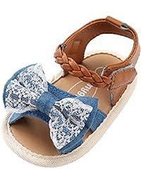 Topgrowth Sandali Bambina Ragazza Eleganti Scarpe Fiocco Partito Nozze Spiaggia Piatto Scarpe da Principessa (27, Bianca)