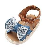 Sandalias niñas Xinantime Zapatos bebés de Verano para niñas Chica Sandalias con cinturón Tejido bebé Sneaker Zapatillas Planas Bowknot Zapatos Princesa Calzado (0-6 Meses, Azúl)