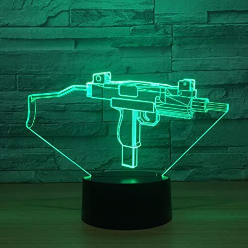 3d Led Uzi Gun Modellierung Nachtlichter Usb Touch Button Steigungen Schreibtischlampe 7 Farbwechsel Wohnkultur Beleuchtung Für Kind Geschenke (Gun Uzi Spielzeug)