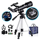 BNISE 70mm Portable Refractor Telescope & HD Binoculars, Fully Coated Glass Optics, Telescopes