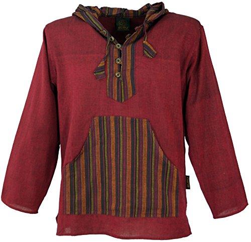 GURU-SHOP, Camicia Yoga, Camicia Goa, Felpa Patchwork, Rosso Vino, Cotone, Dimensione Indumenti:L, Camicie da Uomo