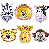 Ouinne 6 Stück Folienballon Tier, 22 Zoll Riesigen Tierkopf Ballons Kit für Kinder Geburtstag Party Dekoration