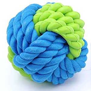 ThinkPet Balle de Corde Avec En Caoutchouc,Robuste Brosser des Dents et Massage de La Gencive Pour chien