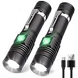 LED Taschenlampe USB Wiederaufladbar, Karrong Arbeit Taschenlampe 4 Modi Wasserdicht Zoombar Einstellbarer Fokus, Taktische Taschenlampen für Innen Outdoor Camping Wandern (Inklusive 18650 Akku)