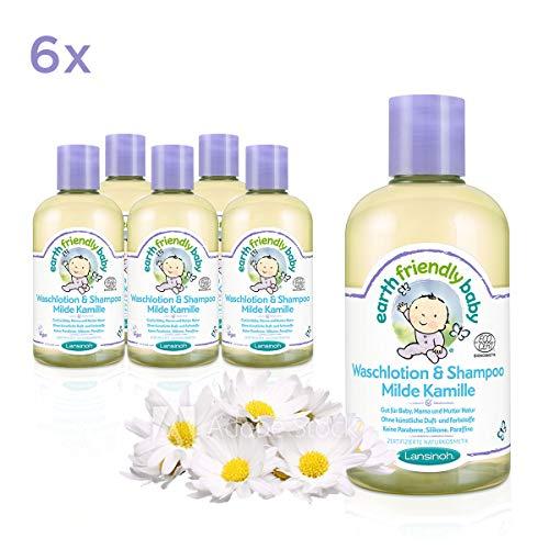 Earth Friendly Baby Waschlotion & Shampoo Milde Kamille, 6 Flaschen á 250 ml, 1500 ml, Sparpackung