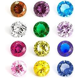 Rubyca Geburtssteine in gemichten Farben, Kristall-Glas, Floating Charms, passend für Living Memory Medaillon 5mm 12, Round, 24 Pcs