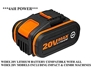WORX 20V 4.0Ah Lithium Battery WITH BATTERY POWER INDICATOR