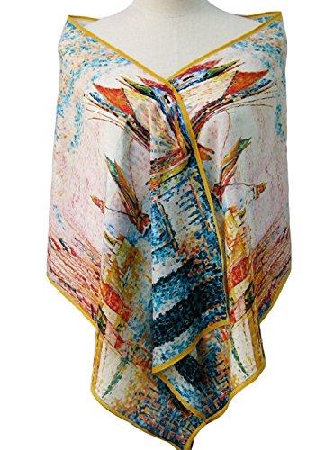 Prettystern P019 - pintura puntillismo bufanda de seda del arte de impresión de 160 cm - Paul Signac - El faro de Groix
