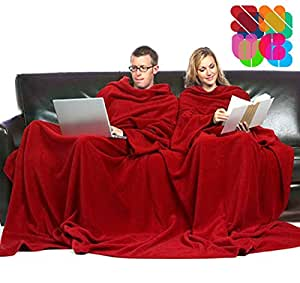 Snug Couverture 2 places avec manches pour couples, 160 x 180cm, rouge