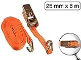 2 tlg Ratschenspanngurt mit Haken 6 m x 25 mm 1000 kg Orange
