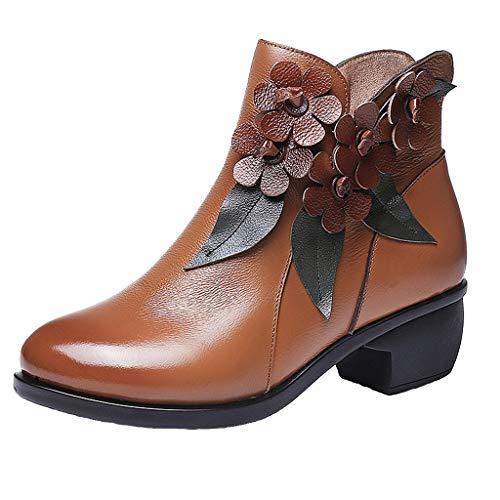 Vovotrade Stivaletti alla Caviglia con Tacco Medio a Cerniera Floreale Fatto a Mano Vintage da Donna