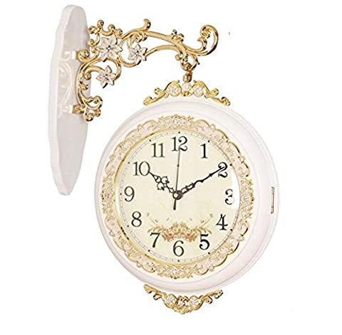 ZWZT European-style double-sided wall clock living room large mute creative watch hanging watch modern fashion on both sides of solid wood clock quartz clock , white