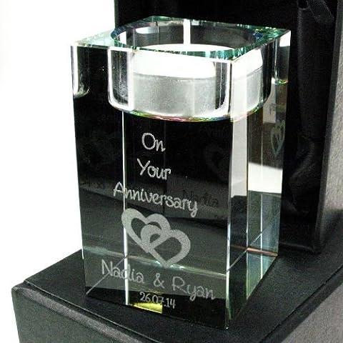 Personalised Anniversary T Light Hearts Design, Wedding Anniversary Keepsake, Crystal Anniversary Gift, 15th Anniversary