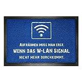 Preis am Stiel Fussmatte - WLAN - Signal Aufräumen | Fußabtreter lustig | Türvorleger mit Spruch | Schmutzmatte Eingangsbereich | Geschenk für Männer