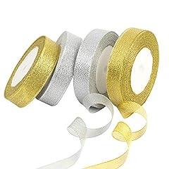 Idea Regalo - KATOOM Nastro di Organza,4 PCS Organza Ribbon Oro e Argento 2 cm di Larghezza Flash Decorazione Regalo Matrimonio Partito Natale Compleanno Festa della Mamma Festa del papà