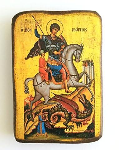 Wooden Greek Christian Orthodox Wood Icon of Saint George Riding