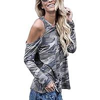Camisetas de camuflaje Sannysis mujer blusa de manga larga Tops (XL)