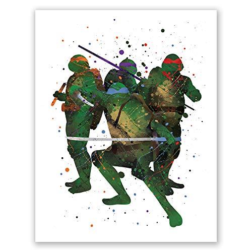 PGbureau Teenage Mutant Ninja Turtles Poster - Aquarell TMNT Art - Kinderzimmer Wanddekoration - Party Supplies Dekoration - Kinderzimmer Kunst - Geburtstag 8x10