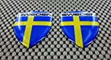Schweden Flagge 3D Aufkleber Aufkleber Medium Set 2Pcs