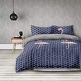 AmeliaHome 3tlg Bettwäsche 200x220 cm mit 2 Kissenbezügen 80x80 cm geometrisches Muster Microfaser Reißverschluss Basic Collection Flamingo Dark dunkelblau rosa