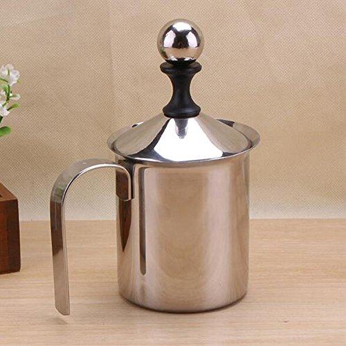 Vinmax Mousseur à Lait en Acier Inoxydable, Pot de Lait de Double-couche 400cc, Pot de Bulle de Lait de Café
