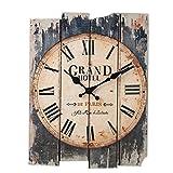 Pendule Murale, Foxom Retro Horloge Pendule Murale en Bois Rectangulaire Avec Des Chiffres Romains 30x40cm
