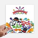 DIYthinker Maske Glas Hut Glücklicher Karneval von Venedig Quadrataufkleber 20Cm Wand Koffer Laptop Motobike Aufkleber 4Pcs 20cm x 20cm Mehrfarbig