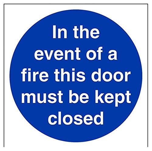 """vsafety 18007am-s """"Im Brandfall diese Tür muss geschlossen"""" Pflicht Schilder, selbstklebendes Vinyl, quadratisch, 150mm x 150mm, blau"""