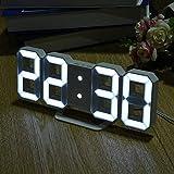 Lordpoll-ES Múltiples usos Pantalla LED en Forma de 8 Relojes de Mesa Digitales de Escritorio Termómetro Higrómetro Calendario Estación meteorológica Pronóstico del Reloj MUA