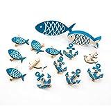 SET Tisch-Deko: 14 Teile blau weiß: 6 kleine Deko-KLAMMERN FISCH 5 cm + 6 Schiffs-ANKER 5,5 cm + 1 Holz-FISCH 10,5 cm + 1 Holzfisch 13 cm als maritime Dekoration zur Taufe, Hochzeit, für Angler, …