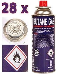 Cartouche de gaz 28 x 227 g mfs cartouches de gaz butane pour réchaud à gaz, gaz briquet torche, 1 brûleur 28 rouge