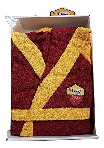 AS Roma Bademantel für Erwachsene, Größe XXL, Frottee in Box mit Wappen A.S. Roma Offiziell, Gelb und Rot
