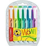 STABILO swing cool - Marcador fluorescente plano de bolsillo - Estuche con 6 colores