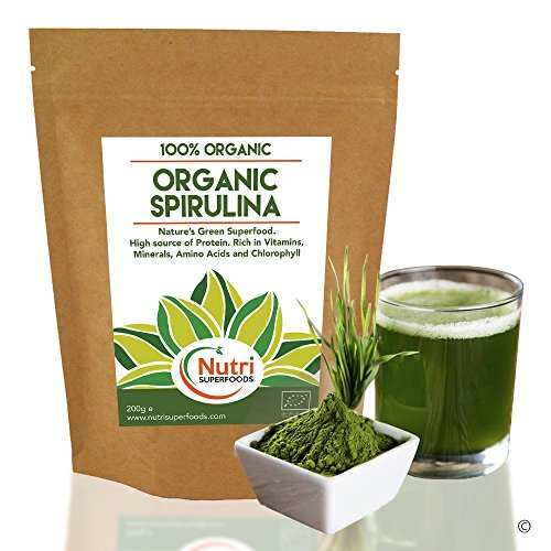 Organic Spirulina in Powder, Suitable for Vegans, Rich in Nutrients, Aid to Physical Performance, High in Chlorophyll, Vitamins, Minerals and Amino Acids for Better Health. 200g