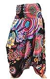 La Conchiglia - Pantalone Turca Fantasia - Harem Donna - Pantaloni 3 in 1 Vestito Maglia (Nero)