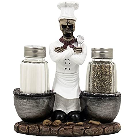 Spooky Skeleton Chef Glass Salt and Pepper Shaker Set with Cauldrons & Skulls Decorative Display Holder Figurine for Halloween Decorations As Kitchen Table Decor or Scary Gothic Gifts by Home-n-Gifts