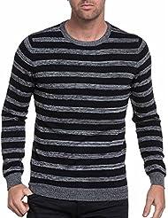 BLZ jeans - Pull homme noir à rayures grises stylé