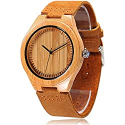 CUCOL Bamboo Wooden Watches For Men Genuine Leather Strap Watch Japanese Quartz Movement Gift For Groomsmen