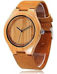 Cucol - Reloj de pulsera para hombre, madera, correa de piel, movimiento de cuarzo japonés