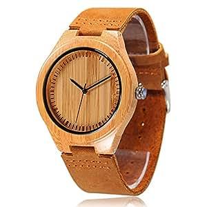 CUCOL in legno di bambù, in vera pelle per orologio da uomo, Orologio con movimento al quarzo per giapponese Groomsmen regalo