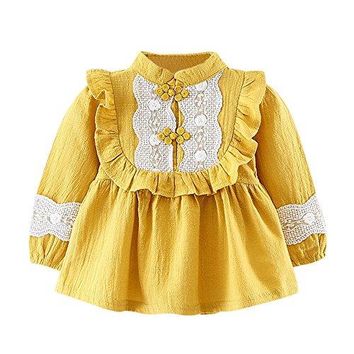 Zhen+ Baby Mädchen Cute Langarm Robe Bluse Kleid Prinzessin Spitze Kleider kleidung (Gelb, 6Monat) (Kleidung Cute Bluse)