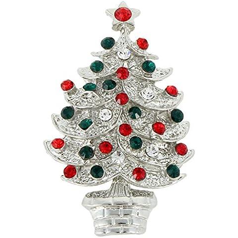 Ever Faith Silver-tone Livelli austriaco di cristallo Stelle di Natale Spilla Albero Pin multicolore N04577-2