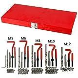 Creine Professionelles Gewindereparatur Set 131PCS Helicoil Auto Gewindehülse M5 M6 M8 M10 M12 Werkzeug Kit