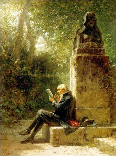 Poster 30 x 40 cm: der Philosoph (der Leser im Park) von Carl Spitzweg/ARTOTHEK - Hochwertiger...