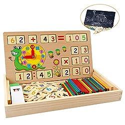 Babyhelen Montessori Mathe Spielzeug aus Holz Lernbox Zahlenlernspiel mit Zeichnung Holzbrett Lernspielzeug für Kinder 3 4 5 Jahre Alt