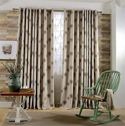 Naturer Vorhang Blickdicht ösen 2er Set 140x245 Braun Löwenzahn Stickerei Geometrie Muster Gardine Lichtundurchlässig Fenstervorhang Wohnzimmer Schlafzimmer