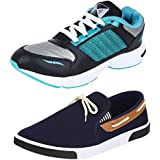 Chevit Men's COMBO Pack Of 2 Aqua Green And Tan Sneakers Shoes And Running Shoes (Casual Shoes)