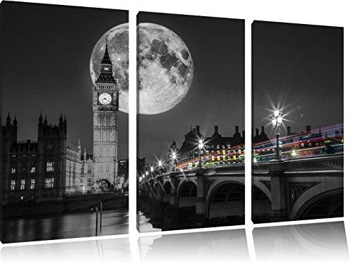 Big Ben vor dem Mond in London schwarz/weiß auf 3-Teiler Leinwandbild 120x80 Bild auf Leinwand, XXL riesige Bilder fertig gerahmt mit Keilrahmen, Kunstdruck auf Wandbild mit Rahmen, gänstiger als Gemälde oder Ölbild, kein Poster oder Plakat (Dem Kirche Mond Auf)